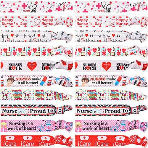 20 Pieces Nursing Hair Tie Elastic Ribbon Ponytail Holder Hair Accessories Gift for Nurses Women Girls Teachers, Nursing School Classmates, Appreciation Week, Graduation, Colleagues and Friends