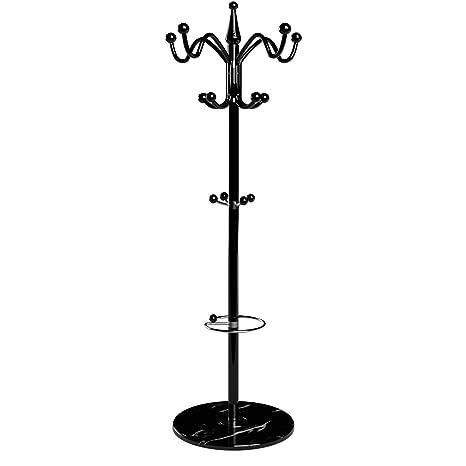 Attaccapanni Portaombrelli.Deuba Attaccapanni Da Terra Piedestallo In Marmo 173cm Curvo Per Giacche Cappotti Cappelli Ed Ombrelli Portaombrelli