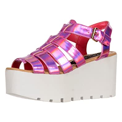 3fd2cbd188c Onlineshoe Women s Cut Out Gladiator Platform Summer Sandals Chunky Sole  Wedges Fuschia UK5 - EU38 -