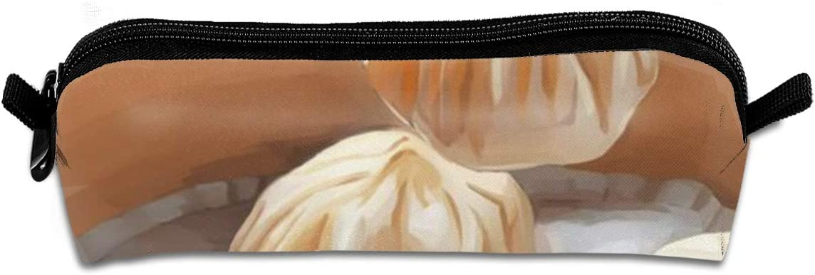 Pencil Bag Chinese Food Small Steamed Bun Pencil Case Pen Zipper Bag Pouch Holder Makeup Brush Bag for School Work Office