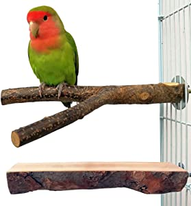 QUMY Bird Parrot Toys Hanging Bell Pet Bird Cage Hammock Swing Toy Wooden Hanging Perch Toy for Small Parakeets Cockatiels, Conures, Macaws, Parrots, Love Birds, Finches