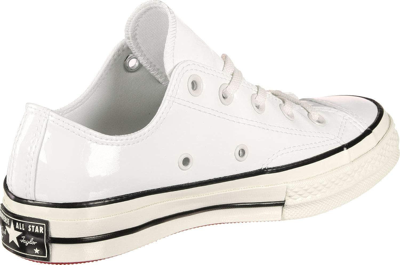Converse Chuck Taylor CTAS 70 Ox Canvas, Chaussures de Fitness Mixte Vintage White Black Egret Patent