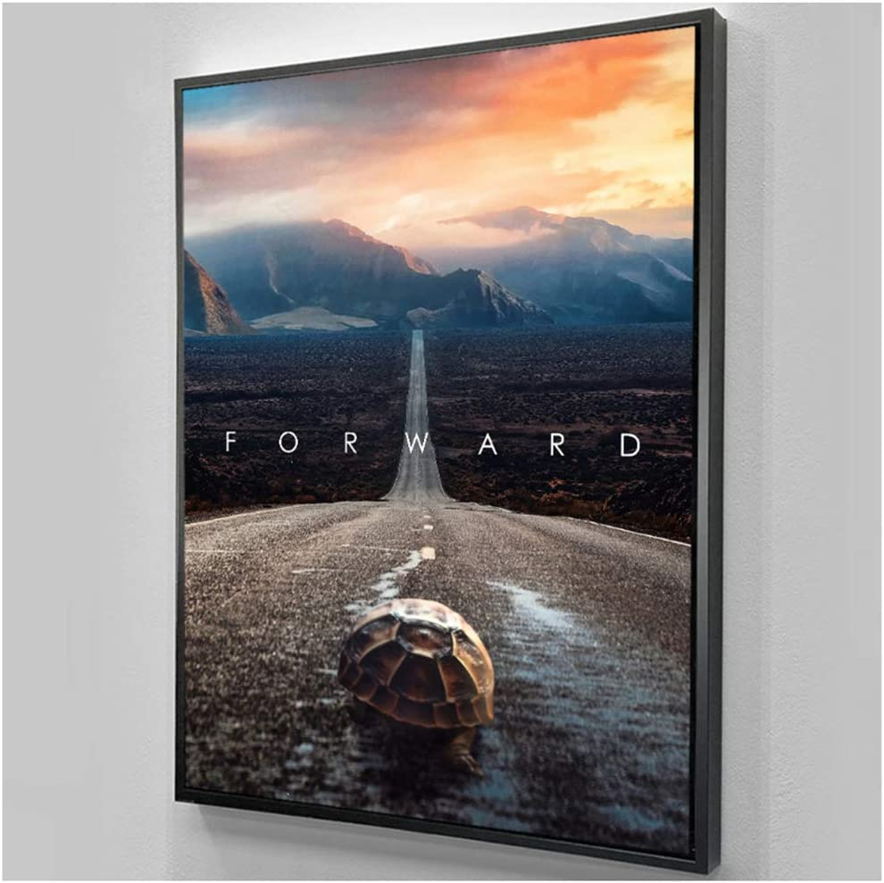 """HYY-YY Turtle Crawling on The Pavement Canvas Art Text Animal Canvas Painting Wall Art Picture for Home Decor 19.6""""x 29.5""""(50x75cm) No Frame"""