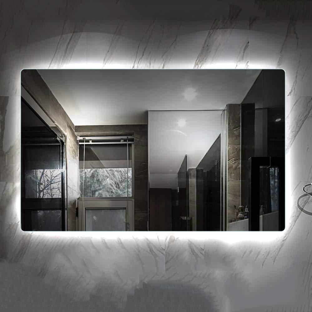 White light 6080cm LED Illuminated bathroom mirror, Frameless Wall-Mounted Bathroom Vanity Mirror, White Light Warm Light, 50  70cm, 60  80cm