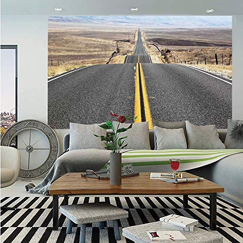 SoSung Americana Landscape Decor Wall Mural,Pacific Coast Highway on The Road Trip to Endless Desert Western Photo,Self-Adhesive Large Wallpaper for Home Decor 55x78 inches,Grey ()