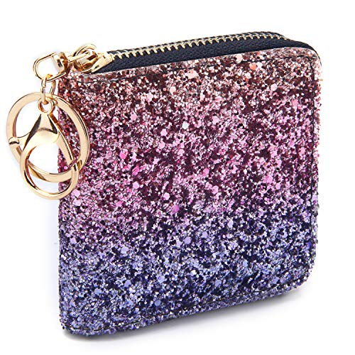 (GEEAD Small Glitter Wallet for Women Girls Mini Coin Purse Pouches with Key Ring)