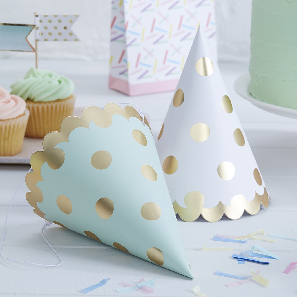 Pick and Mix - Gold Foiled Polka Dot Party Hats ginger ray PM-916