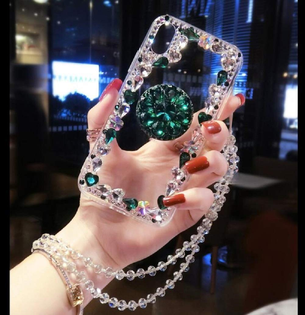 Amocase Diamond Clear Case with 2 in 1 Stylus for Samsung Galaxy M20,Luxury Girly 3D Handmade Gemstone Soft Rubber Bumper Ring Stand Holder Bling Case with Crystal Neck Lanyard - Green by Amocase