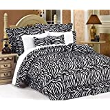 Legacy Decor 7 PC Black and White Zebra Print Faux Fur, Queen Size Comforter Bedding Set