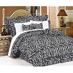Legacy Decor 7 PC Black and White Zebra Print Faux Fur, Queen Size Comforter Bedding Set