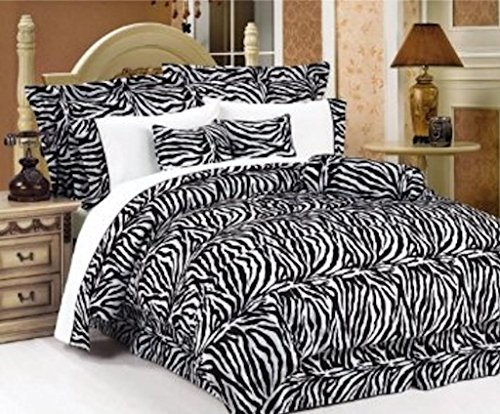 - Legacy Decor 7 PC, Cal King Size Comforter Set Black and White Zebra Print Faux Fur