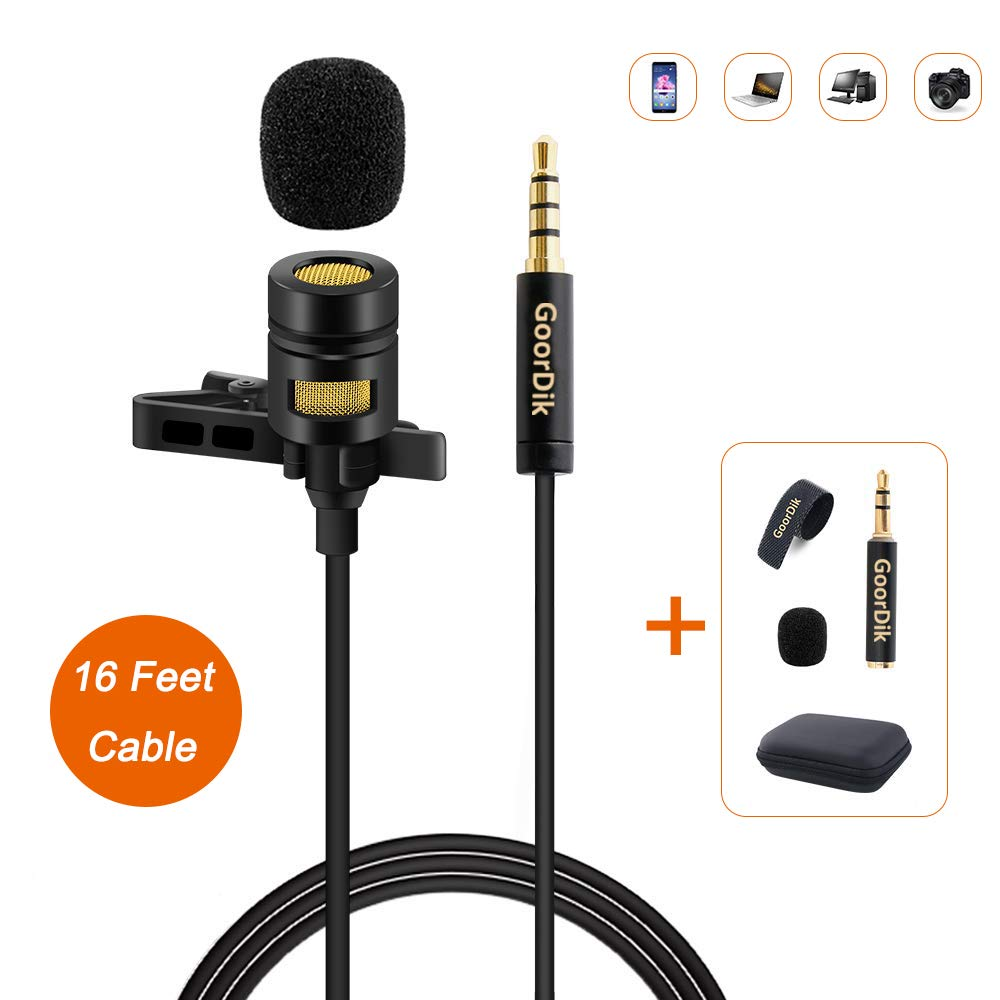 GoorDik Professional Lavalier Lapel Microphone - Omnidirectional Condenser Mic with 16 feet Cable and with Easy Clip for Youtube/Interview/Video Conference/Podcast/Voice Dictation/iPhone/ASM by GoorDik