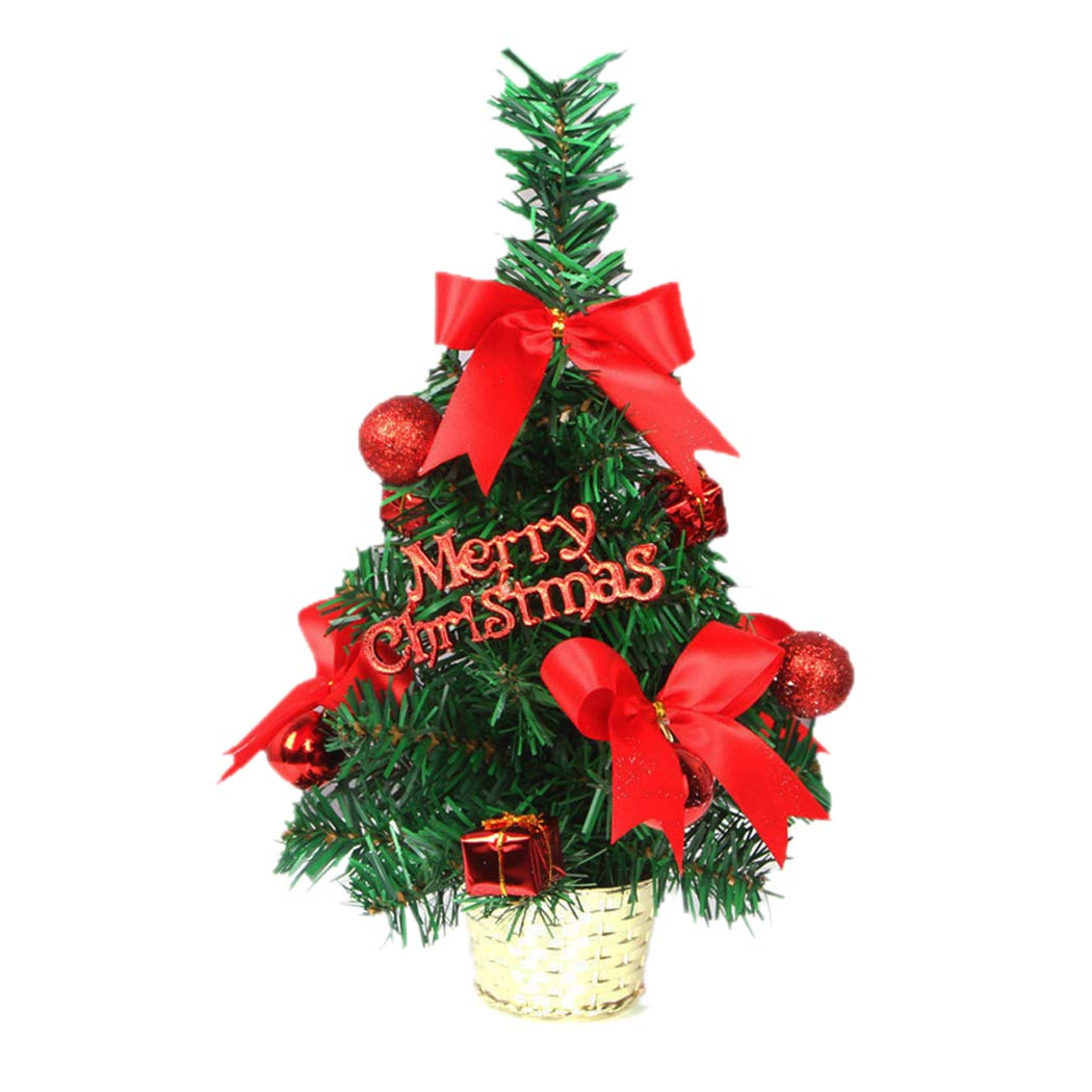 Tabletop Christmas Tree, Inkach Mini Xmas Tree Ball Ornaments Display Stand Desk Tree Decorations Gifts (Red)
