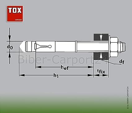 Größen Ankerdübel Schwerlastdübel Ankerbolzen div TOX S-Fix Pro Bolzenanker