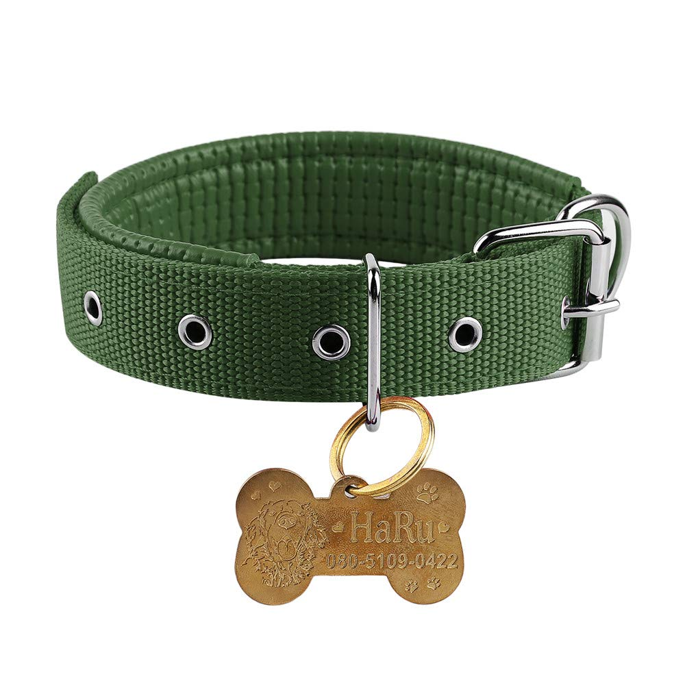Green S(Neck size 31-38cm) Green S(Neck size 31-38cm) Boknight Personalised Dog Collars for Small Medium Large Dogs, Stainless Steel Bone Shaped Dog Tag Free Engraving for Cats Dogs