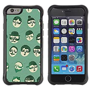 Fuerte Suave TPU GEL Caso Carcasa de Protección Funda para Apple Iphone 6 / Business Style Hipster Beard Moustache Cartoon People
