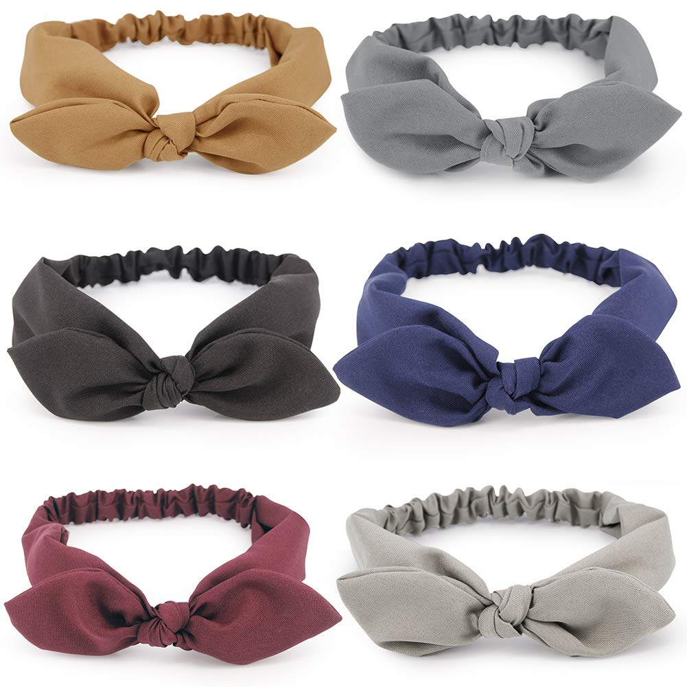 6 Pcs Hogoo Bow Headbands Vintage Solid Color Headband Polyester Headwraps Fabric Hair Band for Women