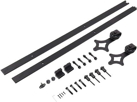 Sistema de riel de puerta corredera para riel de puerta robusta para el hogar Sistema de montaje de herrajes para puertas correderas de madera: Amazon.es: Bricolaje y herramientas