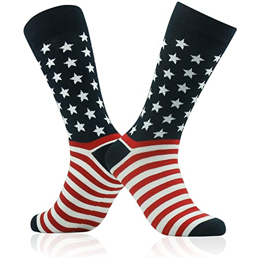 f35322bd76f2 American Flag Socks, SUTTOS Men's Crazy Patriotic Black Red White Striped  Stars Flag Socks Casual