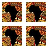 Lunarable African Coaster Set of Four, Abstract Artistic Style Africa Map on Ethnic Carpet Background Illustration, Square Hardboard Gloss Coasters for Drinks, Black and Orange