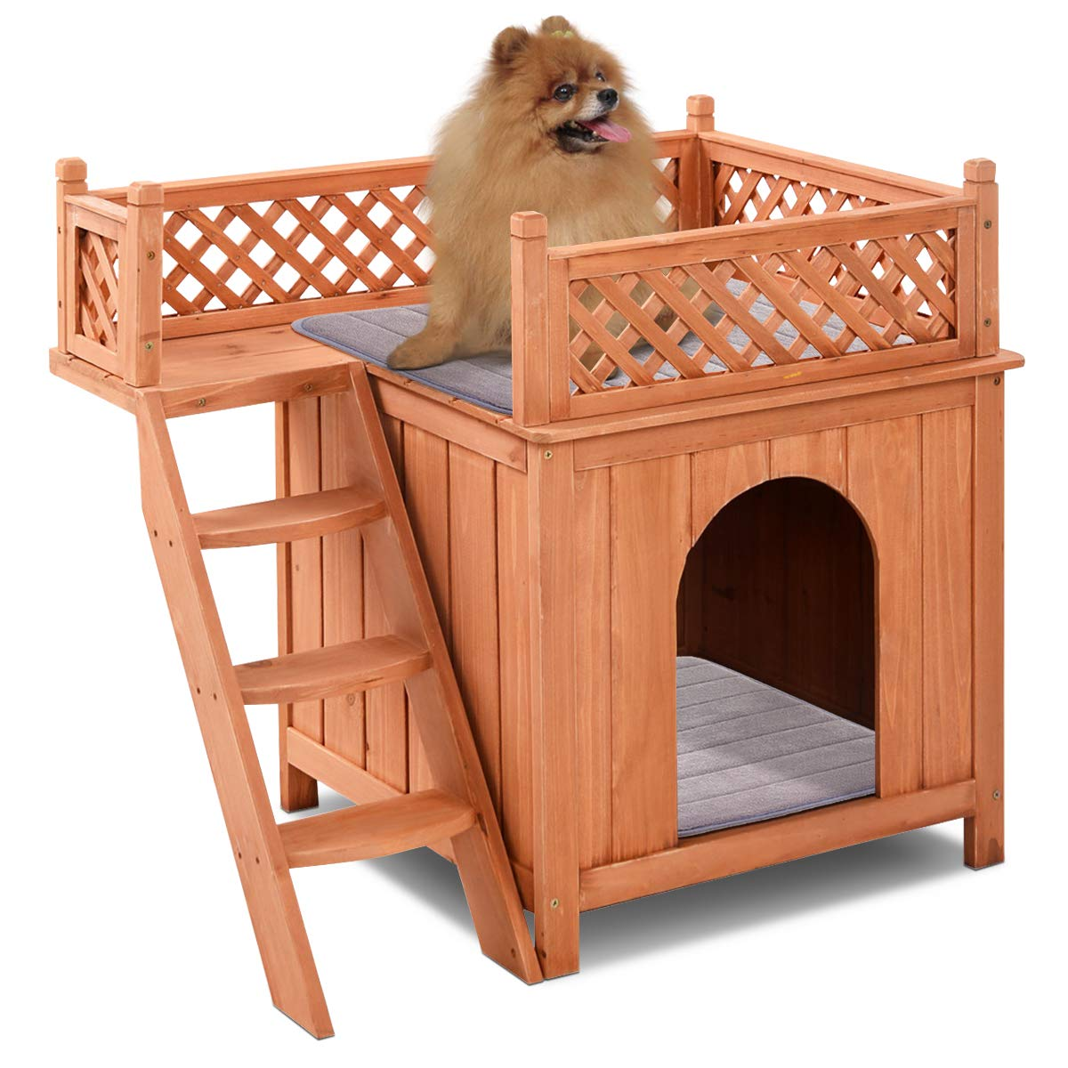 Giantex Pet Dog House Wooden Puppy Dog House Outdoor/Indoor Wood Dog Room Shelter with Stairs, Raised Roof and Balcony Bed