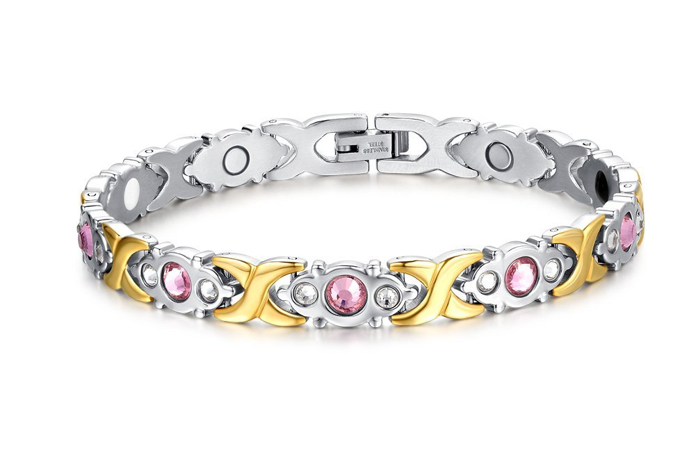 Chang World Womens Titanium Stainless Steel Magnetic Therapy Bracelet with Rhinestone Gold