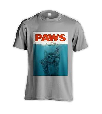 59dd03e4b Paws Parody of Jaws Movie Funny Cat Kitten Grey T-Shirt (XXX-Large): Amazon. co.uk: Clothing