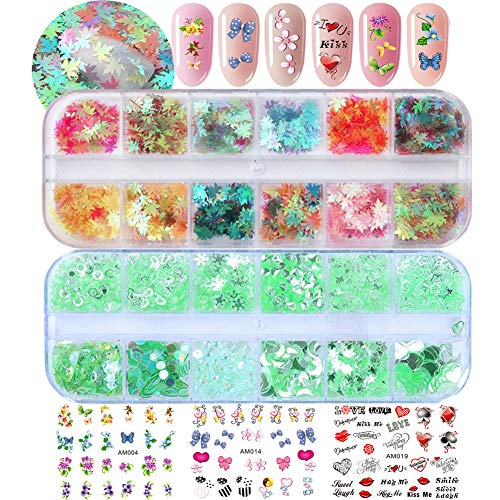 (Iridescent Holographic Nail Sequins Star Leaf Loose Glitters Resin Nail Art Decorations Chunky Glitter Flower Cartoon Nail Stickers Decals for Nail Art & Crafts (SET015A))