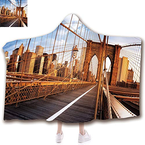 Fashion Blanket Ancient China Decorations Blanket Wearable Hooded Blanket,Unisex Swaddle Blankets for Babies Newborn by,Famous Brooklyn Bridge NYC Architecture,Light,Adult Style Children Style