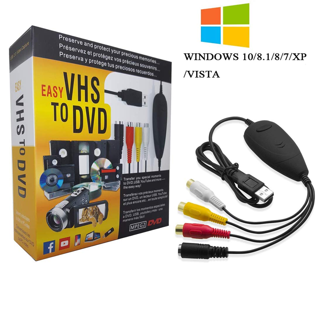 [2018 Updated] VHS to Digital Converter for Windows 10,USB2.0 Video Audio Capture Card Grabber Device,VHS to DVD Converter Support Windows 10/8/7/XP/VISTA/Convert Analog Video to Digital Format
