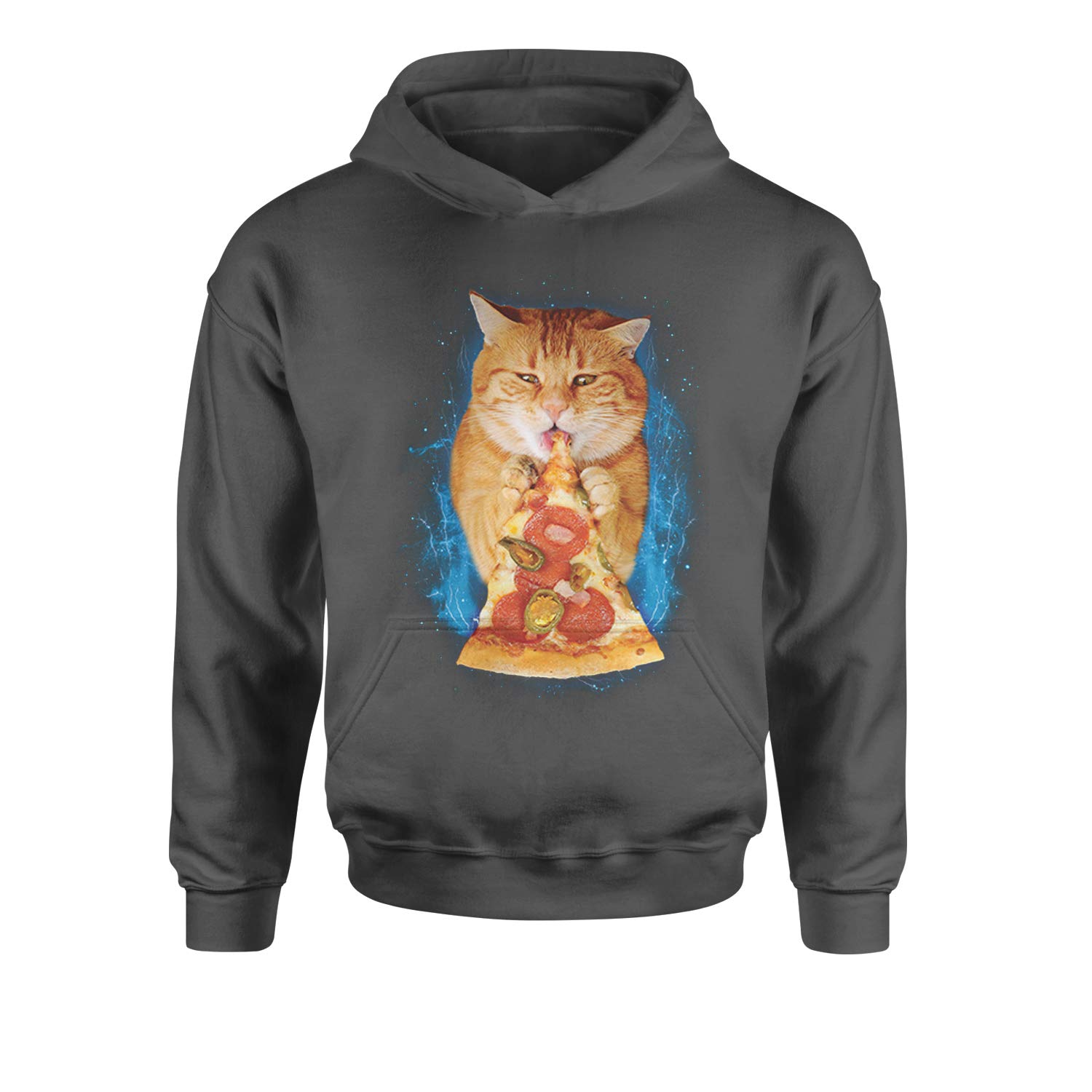 Expression Tees Cat Eating Pizza Youth-Sized Hoodie