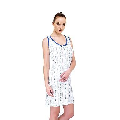 Ezi Women s Nightgowns21 Sleeveless 100% Cotton Floral Vine Print Sleepwear  Nightgown 4221d39c6