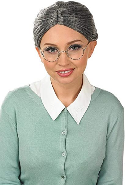 Damas Grises Mujer Mayor Abuela abuela + Gafas Disfraz Peluca Kit ...