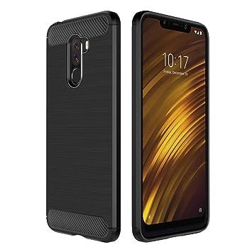 Simpeak Funda Compatible Xiaomi Pocophone F1, Funda Pocophone F1 Carcasa Xiaomi Pocophone F1 Gel Silicona Premium TPU Case, Negro