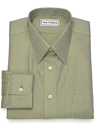 Green Herringbone Dress Shirt - Paul Fredrick Men's Non-Iron Cotton Herringbone Dress Shirt Army Green 16.5/33