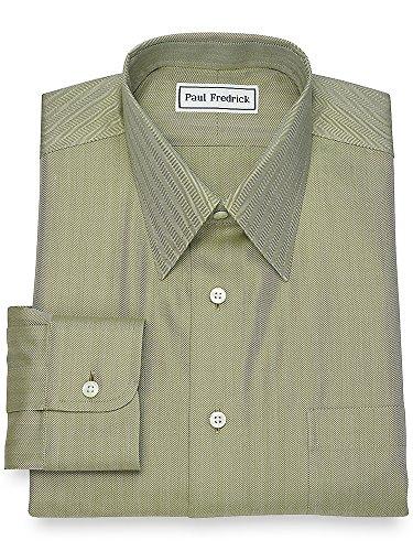Paul Fredrick Men's Non-Iron Cotton Herringbone Dress Shirt Army Green 16.0/34