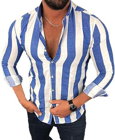 Camisa a Rayas para Hombre, Camisa Casual de Manga Larga con ...
