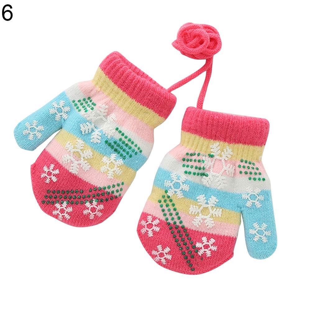 Kids Boys Girls Winter Snowflake Knitting Full Finger Gloves Warm Soft Mittens