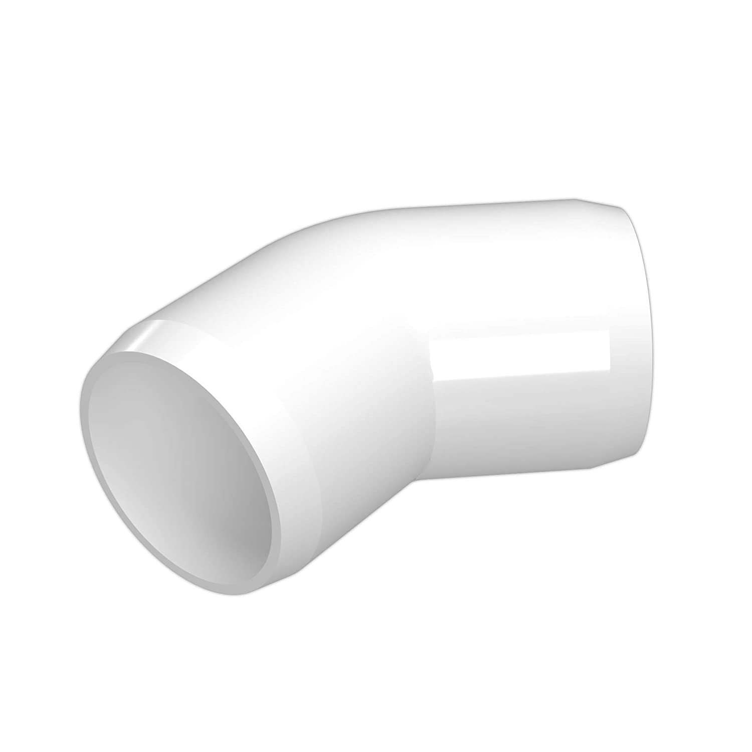 FORMUFIT F00145E-WH-4 45 degree Elbow PVC Fitting, Furniture Grade, 1' Size, White (Pack of 4) 1 Size