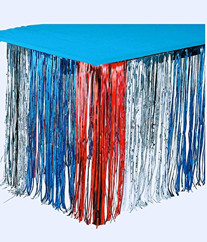 GIFTEXPRESS 2-pack Metallic Red Silver Blue Patriotic Foil Fringe Table Skirts, Patriotic Party Table Skirts, July 4th Decorations Party Supplies (Red Silver Blue, 2-pack)