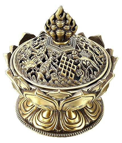 BleuMoo Chinese Lotus Bronze Incense Burner Holder Flower Statue Censer Room Decoration - Bronze Censer