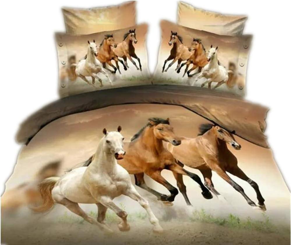 CHAOSE Juego de Sábanas Serie de Animales Lobo Funda Nórdica de Algodón y poliéster 3 Piezas (1 Funda Nórdica + 2 Funda de Almohada 48x74cm) (Caballo, (180x220 cm+2/74x48cm)- Cama 105/135)