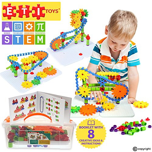 ETI Toys - Jumbo Gears Kit for Boys and Girls 192 Piece Set with Jumbo Gears INCLUDING a Resizeable Interlocking Chain, Connector Pieces and 2 Pegboards