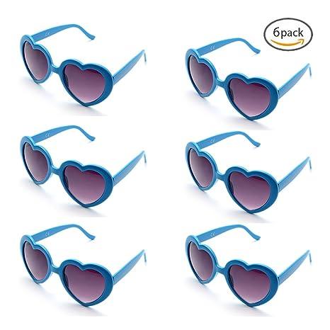 ONNEA 6 Coppie Set Forma di Cuore Occhiali da Sole Festa per Bambini Uomo Donna (6-Pack Rosso) Pfo3ZHEMF