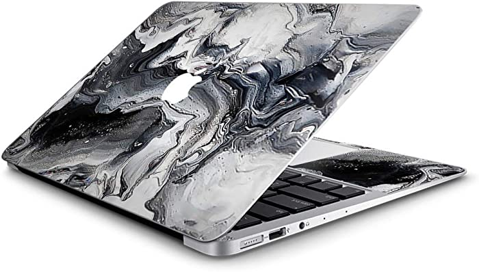 Custom Fits Apple MacBook Air 11 inch Laptop Notebook Skin Vinyl Sticker Cover Decal. Fits Model A1370, A2471, A1465, A2924 - Marble White Grey Swirl Beautiful
