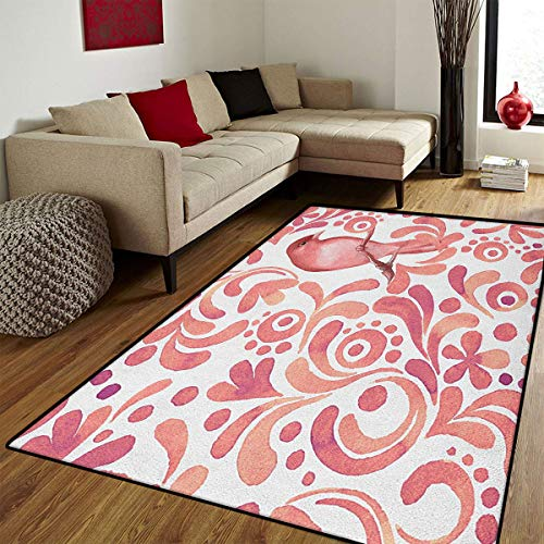 Watercolor,Bath Mats Carpet,Cute Bird on Tree Branch Floral Swirls Curves Little Dots Wildlife,Door Mat Increase,Coral Dried Rose White,6.6x10 ft