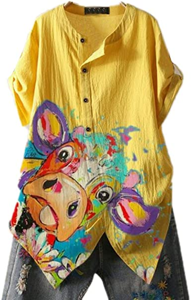 Mujeres Vaca Camisa Blusa Estampado gráfico Manga enrollada ...