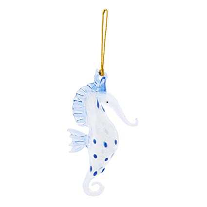 glass coastal blue spotted seahorse christmas ornament glow in dark 45 inch by beachcombers - Seahorse Christmas Ornament