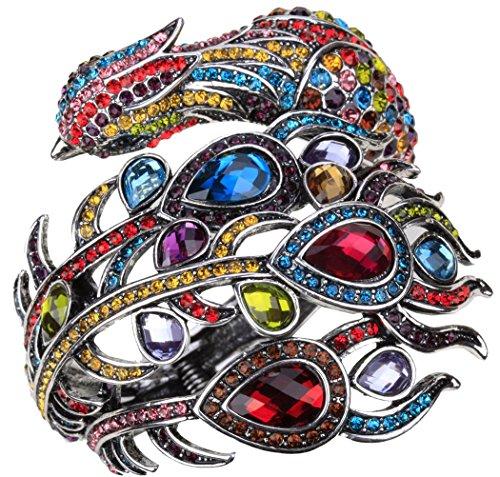 YACQ Jewelry Women's Crystal Big Peacock Bangle Bracelet Women's Halloween Costume Outfit -