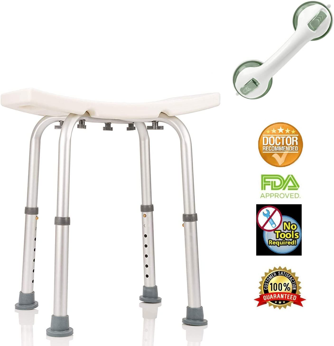 Healthline Shower Chair for Bathtub, Compact Shower Stool Lightweight Bath Tub Bench Chair with Non-Slip Seat & Free Suction Assist Shower Handle, Medical Adjustable Shower Chair for Elderly, White